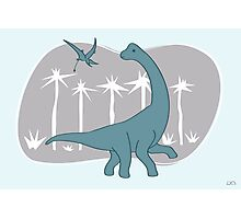 Giraffatitan and Rhamphorynchus Photographic Print