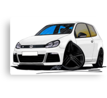VW Golf R White (Black Wheels) Canvas Print