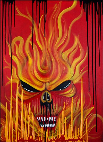 Skull Fire - Red Abstract Horror Art by Laura Barbosa