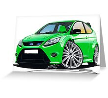 Ford Focus RS (Mk2) Green Greeting Card