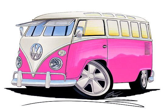 VW Splitty (23 Window) Camper Van Pink by Richard Yeomans