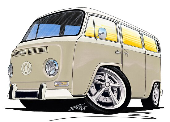 VW Bay Window Camper Van B Cream by Richard Yeomans