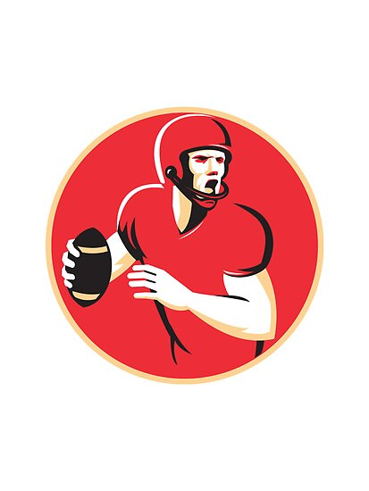 american quarterback football player passing circle by retrovectors