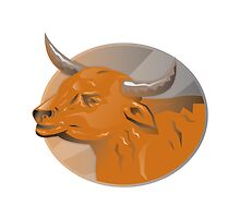 angry bull head retro by retrovectors