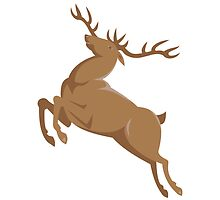 elk stag deer jumping retro style by retrovectors