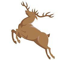 elk stag deer jumping retro style by retrovectors