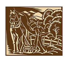 Farmer Farming Plowing With Farm Horse Retro by retrovectors