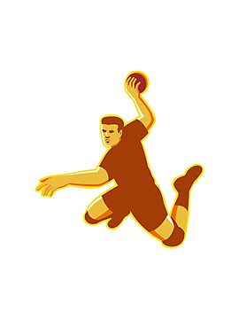 handball player jumping striking retro by retrovectors