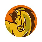 horse stallion head retro by retrovectors