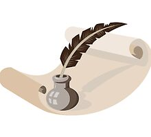 quill pen ink well paper scroll retro by retrovectors