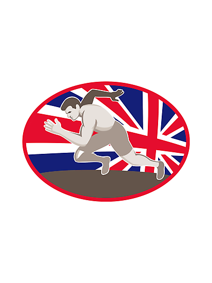runner track and field athlete british flag by retrovectors