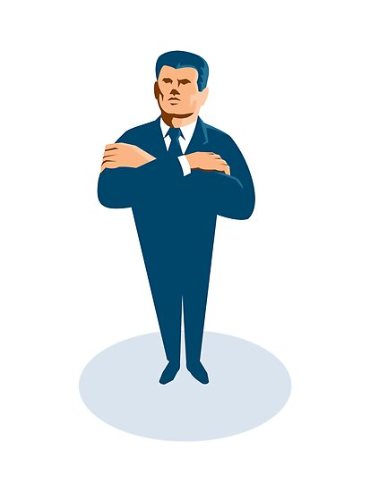 businessman secret agent arms crossed by retrovectors