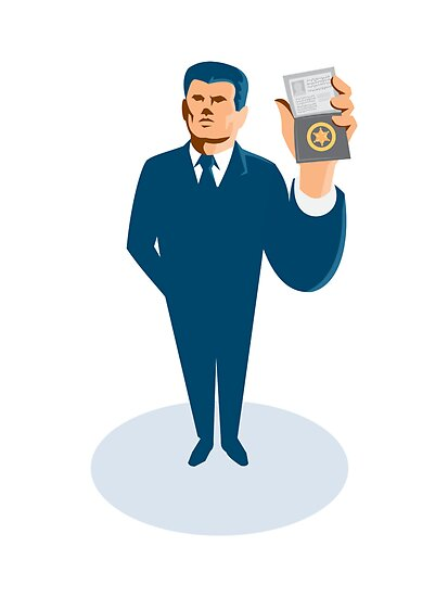 businessman secret agent showing id card badge wallet by retrovectors