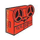 tape recorder reel cassette deck retro by retrovectors