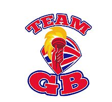 Team GB hand hold flaming torch british flag retro by retrovectors