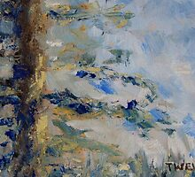 "detail ""Fir Tree Sky"" oil painting  MAYNE ISLAND  by TerrillWelch"