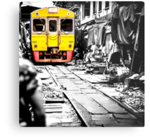 Train coming toward the market with food still on the ground. Metal Print