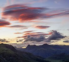 Red Skies over The Langdale Pikes by mountainsandsky