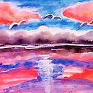 #3 Pink sunset in abstract, revised, watercolor by Anna  Lewis