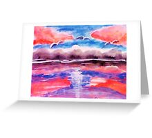 #3 Pink sunset in abstract, revised, watercolor Greeting Card