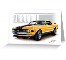 Mustang Mach 1 1970 in Grabber Orange Greeting Card