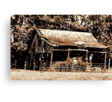 Old Timer's Barn (B&W with a touch of brown) Canvas Print