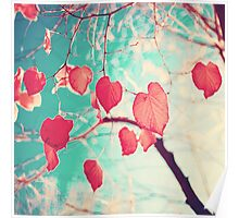 Our hearts are autumn leaves waiting to fall (Pink - Red fall leafs and brilliant retro blue sky) Poster