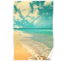 Waves of the sea (retro beach and blue sky) Poster