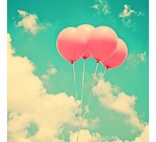 Balloons in the sky (pink ballons in retro blue sky) Photographic Print
