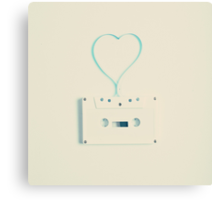 Music retro white cassette and blue tape heart shaped Canvas Print