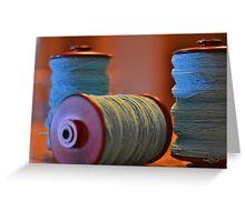 Bobbins of Yarn Blue Greeting Card