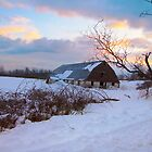 Snowy barn at sundown by Amanda Reed
