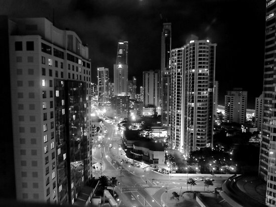 Surfer's Paradise by Night/B&W  by Julie Sleeman