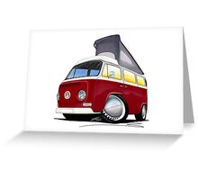 VW Bay (Early) Pop-Top Dark Red Greeting Card
