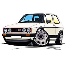 VW Golf (Mk1) GTi White Photographic Print