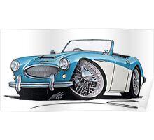 Austin-Healey 3000 Blue/White Poster