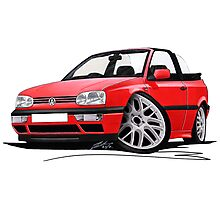 VW Golf (Mk3) Cabriolet Red Photographic Print