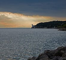 Evening light over Miramare castle by Ian Middleton