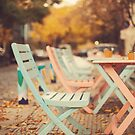 Dream Autumn (Pink and blue coffee shop chairs on retro and vintage fall) by Andreka