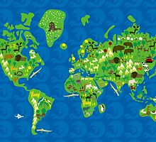 Cartoon Map of Flora and Fauna of the World  by Anastasiia Kucherenko