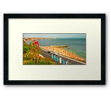 Estoril beach. Hotel cascais Miragem. Framed Print