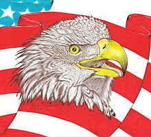 American Flag Eagle Drawing by John Symonette
