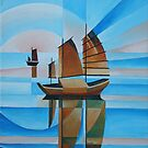Soft Skies, Cerulean Seas and Cubist Junks by taiche