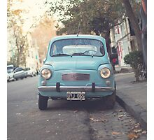 Mint - Blue Retro Fiat Car  Photographic Print