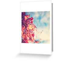 My Secret Garden (Vintage pink autumn leafs and blue sky) Greeting Card