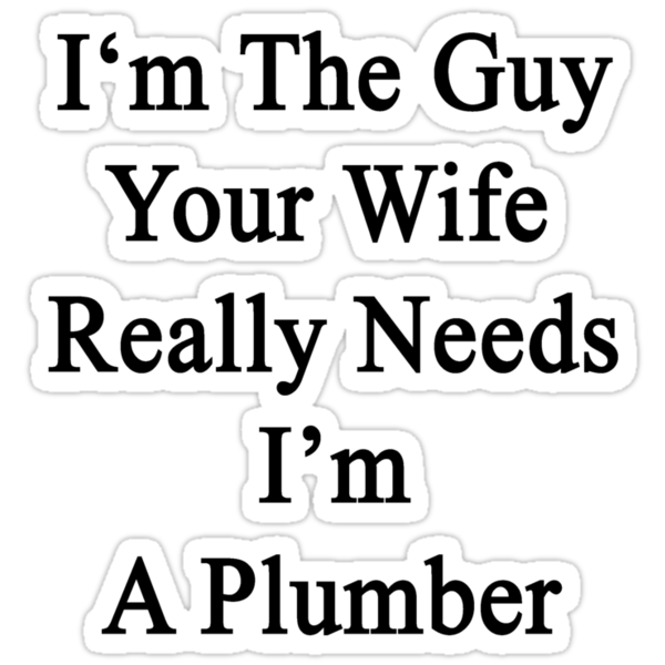 I'm The Guy Your Wife Really Needs I'm A Plumber by supernova23