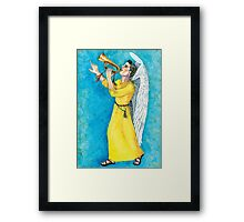 Angel boy blowing bugle Framed Print