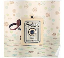 Retro - Vintage Pastel Camera on Cream Pattern Background  Poster