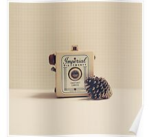 Retro - Vintage Autumn Camera and a Pine Cone on Beige Pattern Background  Poster