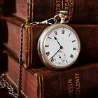 Old Books With Pocket Watch by Ellesscee